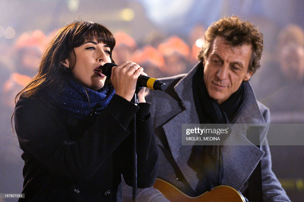 French singer Nolwenn Leroy performs on stage during a show to launch the 26th Telethon, France's biggest annual fund-raising event on December 7, 2012 in Paris. The event, aiming at collecting funds for research on genetic diseases such as myopathy, a neuromuscular disease, will take place on December 7 and 8, 2011.