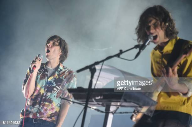 French singer of indie pop group Phoenix Thomas Mars performs on stage during the 29th Eurockeennes rock music festival on July 9 2017 in Belfort...