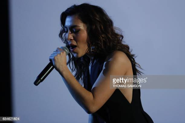 French singer of the LEJ band Lucie Lebrun performs on stage with her band during the 32nd Victoires de la Musique the annual French music awards...
