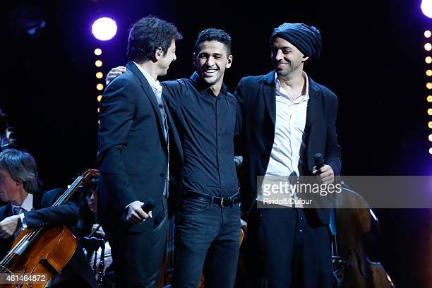 French Singer Patrick Bruel Moroccan singer Youness and Israeli singer Idan Raichel perform together during Weizmann Institute celebrates its 40...