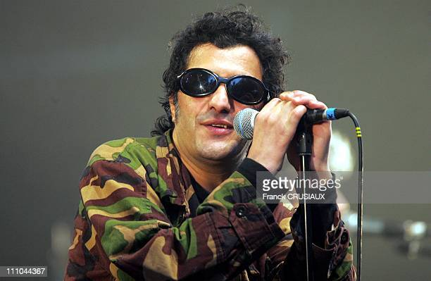 French singer Rachid Taha performs in Lille France on June 16 2004