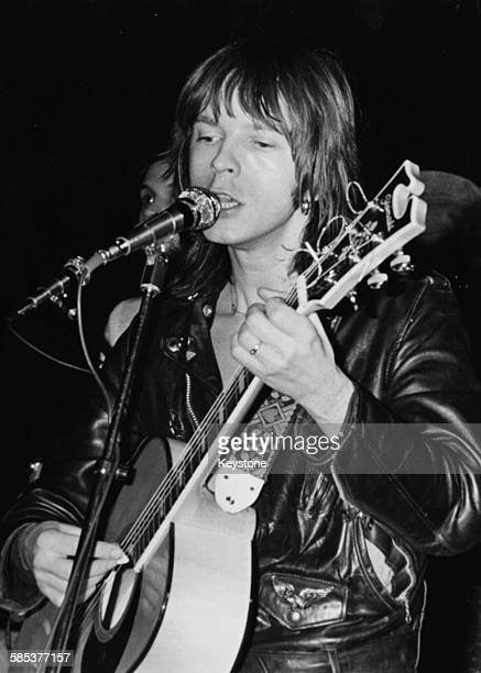 French singer Renaud Sechan performing on stage at the Theatre de la Ville circa 1975