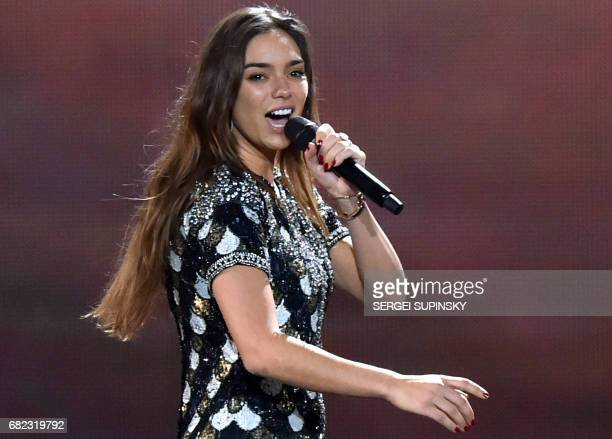 French singer representing France with the song 'Requiem' Alexandra Maquet aka Alma performs on stage during the Grand Final rehearsal of 62nd...