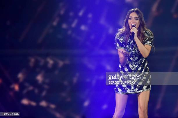 French singer representing France with the song 'Requiem' Alexandra Maquet aka Alma performs on stage during the final of the 62nd edition of the...