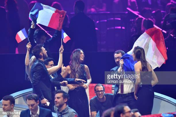 French singer representing France with the song 'Requiem' Alexandra Maquet aka Alma reacts during the final of the 62nd edition of the Eurovision...