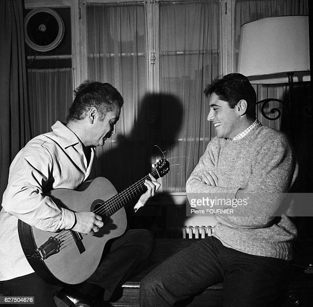 French singer Sacha Distel listen to famous French singer and composer Georges Brassens