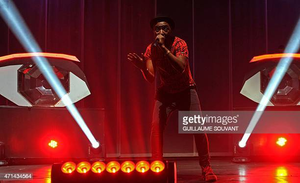 French singer Said M'Roumbaba aka Soprano performs during the 39th edition of 'Le Printemps de Bourges' rock and pop music festival in Bourges on...