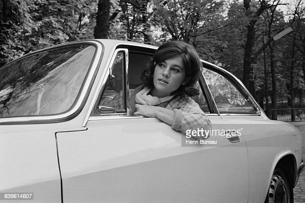 French Singer Sheila in Her Alfa Romeo