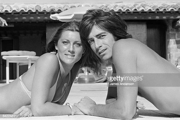 French singer Sheila whose real name is Annie Chancel sunbathes with her husband Ringo whose real name is Guy Bayle in SaintTropez