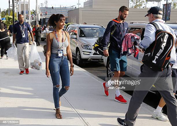 French singer Shy'm and her new boyfriend french tennis player Benoit Paire who lost earlier against JoWilfried Tsonga are seen with Paire's coach...