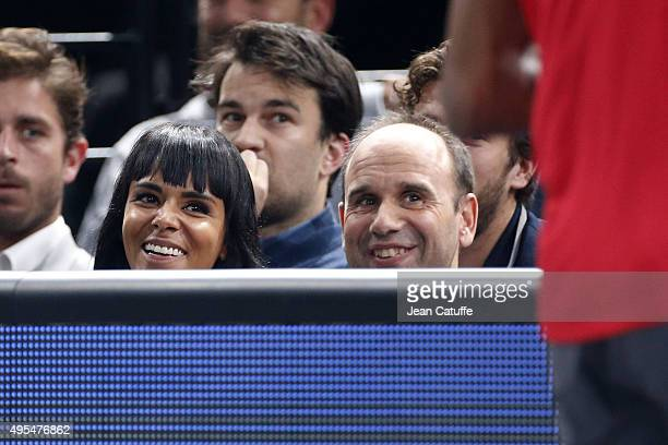French singer Shy'm girlfriend of French player Benoit Paire and his coach Lionel Zimbler attend Paire's match against Gael Monfils of France on Day...