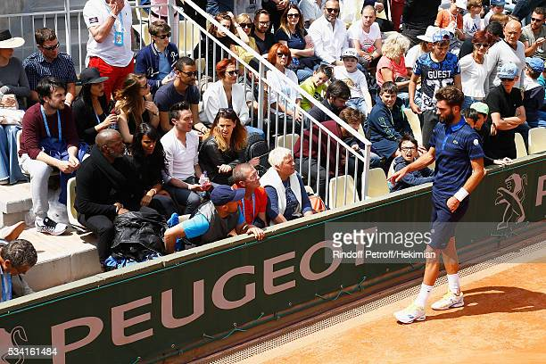 French Singer Shy'm supports her boyfriend French tennis player Benoit Paire during the French Tennis Open at Roland Garros on May 25 2016 in Paris...