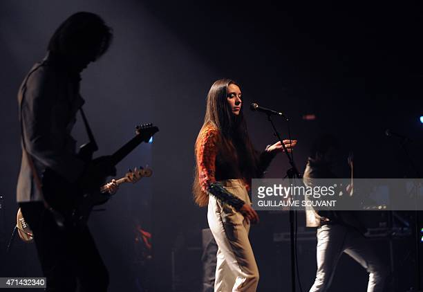 French singer Simone Ringer of the band 'Minuit' performs on stage as part of the 39th edition of 'Le Printemps de Bourges' rock and pop music...