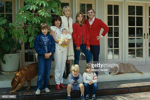 French singer songwriter and actor of Armenian origin Charles Aznavour and his third wife Swede Ulla Thorsell Their son Misha his daughter Seda with...