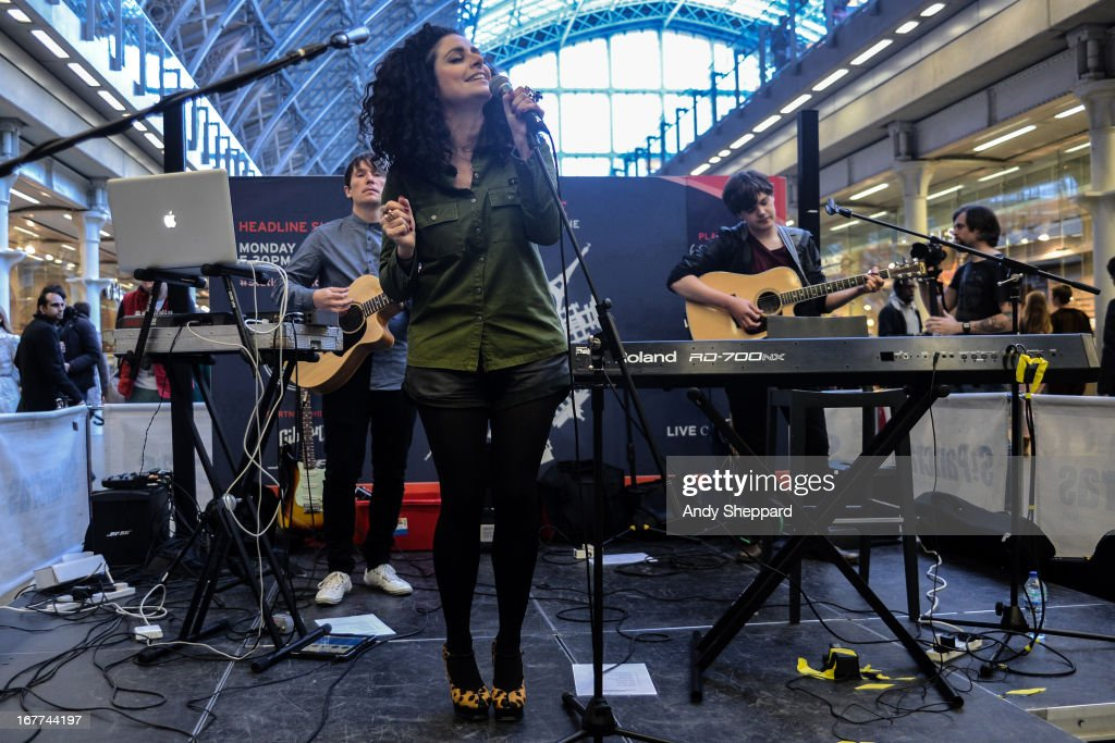 French singer Sophie Delila performs at Station Sessions Festival 2013 at St Pancras Station on April 26, 2013 in London, England.