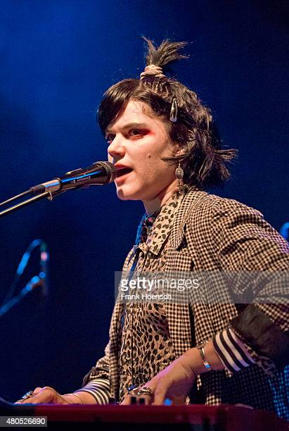 French singer Stephanie Sokolinski aka SoKo performs live during a concert at the Gretchen on July 12 2015 in Berlin Germany