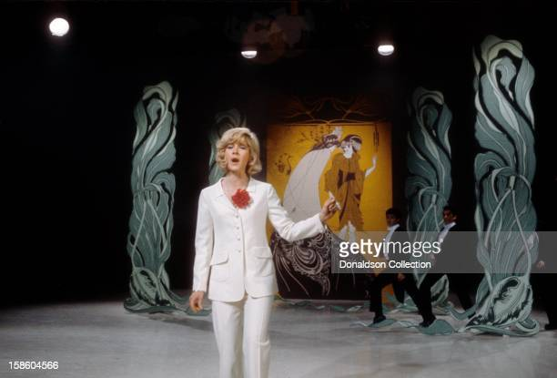 French singer Sylvie Vartan performs on the NBC TV music show 'Hullabaloo' in March 1965 in New York City New York