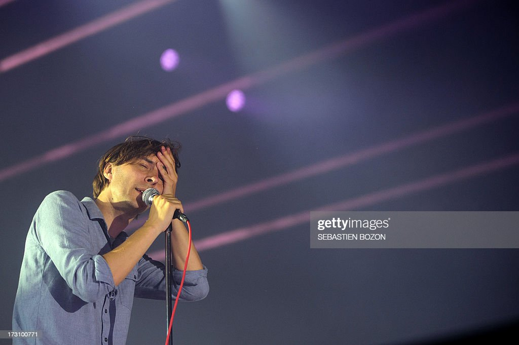 French singer Thomas Mars from the band Phoenix performs on stage on July 6, 2013 on the third day of the Eurockeennes music festival, in the French eastern city of Belfort.