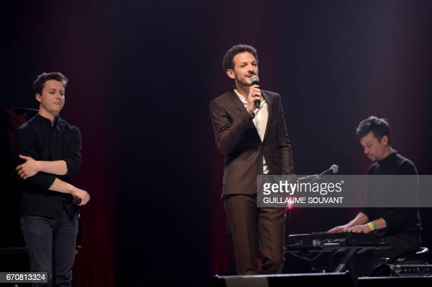 French singer Tim Dup french artist Vincent Dedienne and french artist Olivier Marguerit aka O perform on stage for a tribute to Barbara at the 41st...
