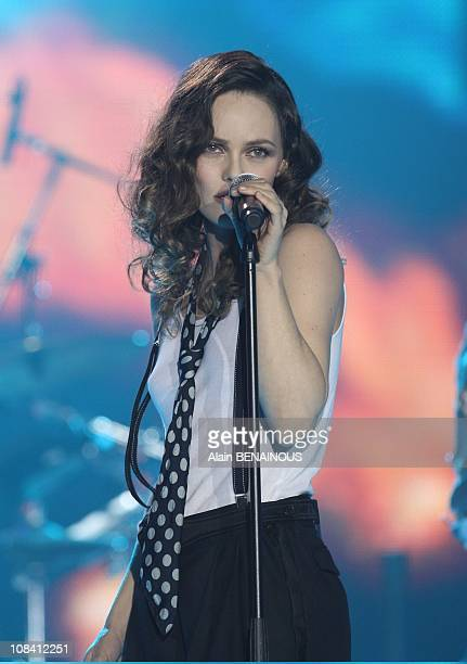 French singer Vanessa Paradis speaks after receiving the best pop songs record of the year award during the 23rd Victory of Music annual ceremony...