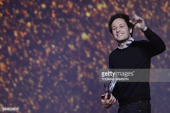 french singer vianney bureau aka vianney celebrates after receiving the best song award during. Black Bedroom Furniture Sets. Home Design Ideas