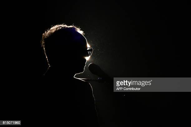 French singer Vincent Delerm performs on stage during the Francofolies Music Festival on July 15 2017 in La Rochelle / AFP PHOTO / XL / XAVIER LEOTY