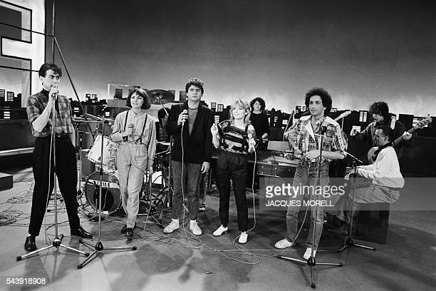 French singers Alain Chamfort Lio Daniel Balavoine France Gall and Michel Berger on the set of a show dedicated to France Gall Formule 11