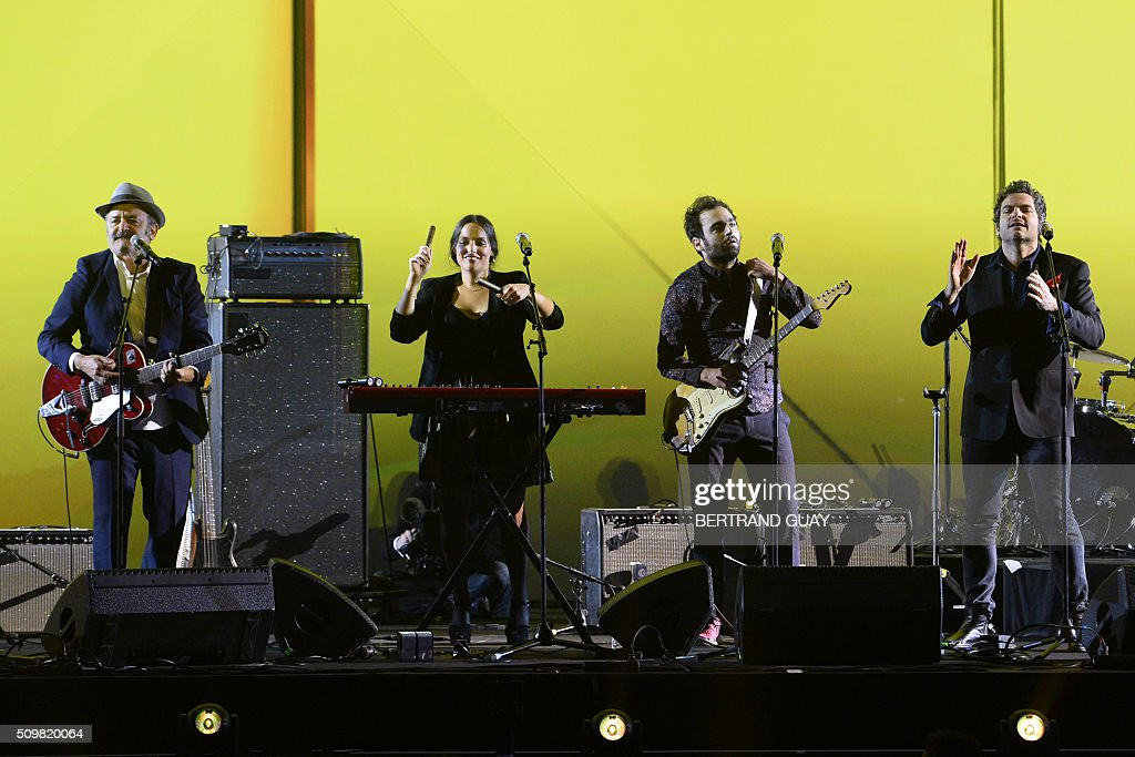 French singers and musicians Louis, Anna, Joseph and Matthieu Chedid perform on stage during the 31st Victoires de la Musique, the annual French music awards ceremony, on February 12, 2016 at the Zenith concert hall in Paris. AFP PHOTO / BERTRAND GUAY / AFP / BERTRAND GUAY