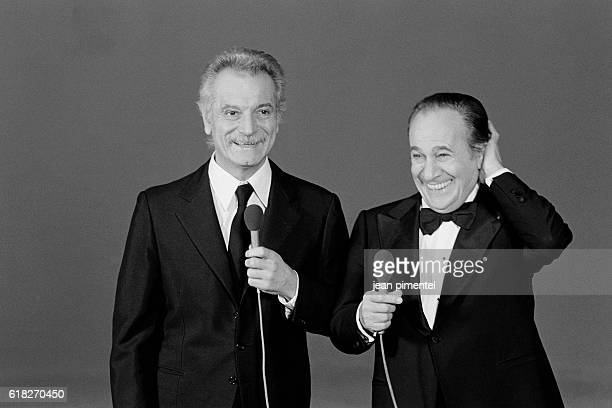 French singers Georges Brassens and Tino Rossi on the set of TV show Show Tino Rossi