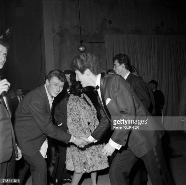 French singers Johnny Hallyday and Eddy Mitchell at the Palais des Sports for the first 'Night of Rock' Paris 25th February 1961