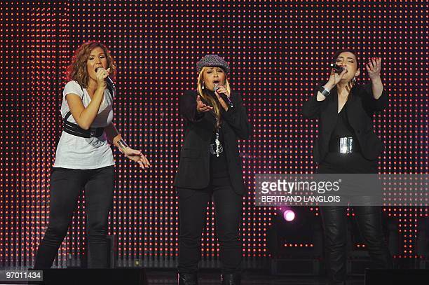 French singers Vitaa Laam and Assia perform on January 24 2010 at the Zenith in Paris during a charity music show for Haitian people Twelve days...