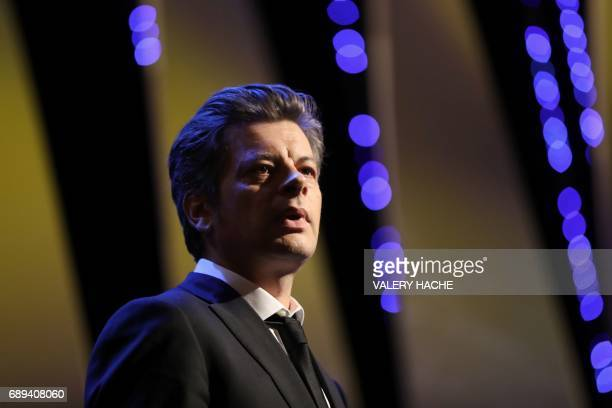 French singer/songwriter Benjamin Biolay performs on stage on May 28 2017 during the closing ceremony of the 70th edition of the Cannes Film Festival...