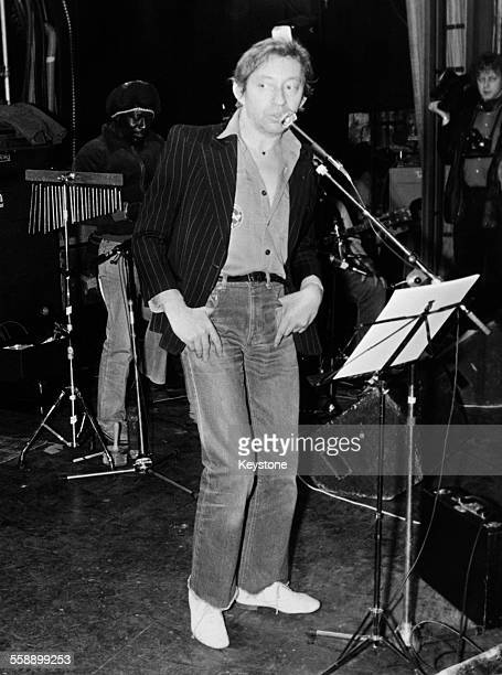 French singersongwriter Serge Gainsbourg rehearsing with leading Jamaican reggae musicians for his first live concerts in 18 years at the Theatre Le...