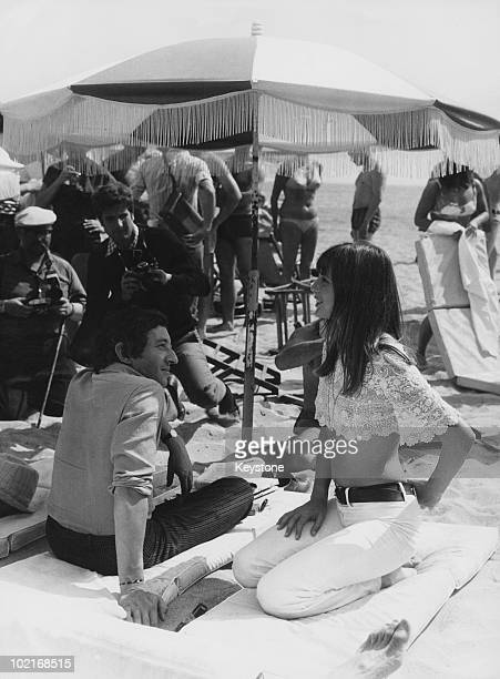 French singersongwriter Serge Gainsbourg with English actress Jane Birkin on the beach at Cannes 19th May 1969