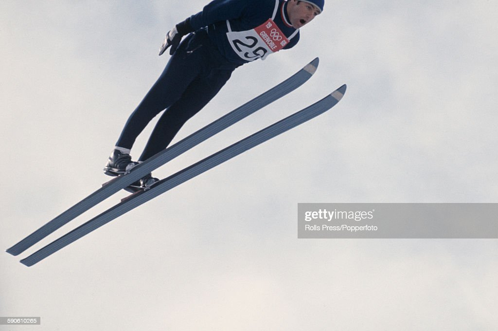French ski jumper Gilbert Poirot competes in the large hill individual ski jumping competition at the 1968 Winter Olympic Games at...