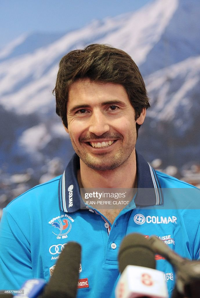 French skier <a gi-track='captionPersonalityLinkClicked' href=/galleries/search?phrase=Jean-Baptiste+Grange&family=editorial&specificpeople=807801 ng-click='$event.stopPropagation()'>Jean-Baptiste Grange</a> answers journalist's questions on February 18, 2015 in Valloire, upon his return home from the Alpine skiing World Championship where he won gold in the men's Slalom event in Beaver Creek, USA. AFP PHOTO / Jean-Pierre Clatot