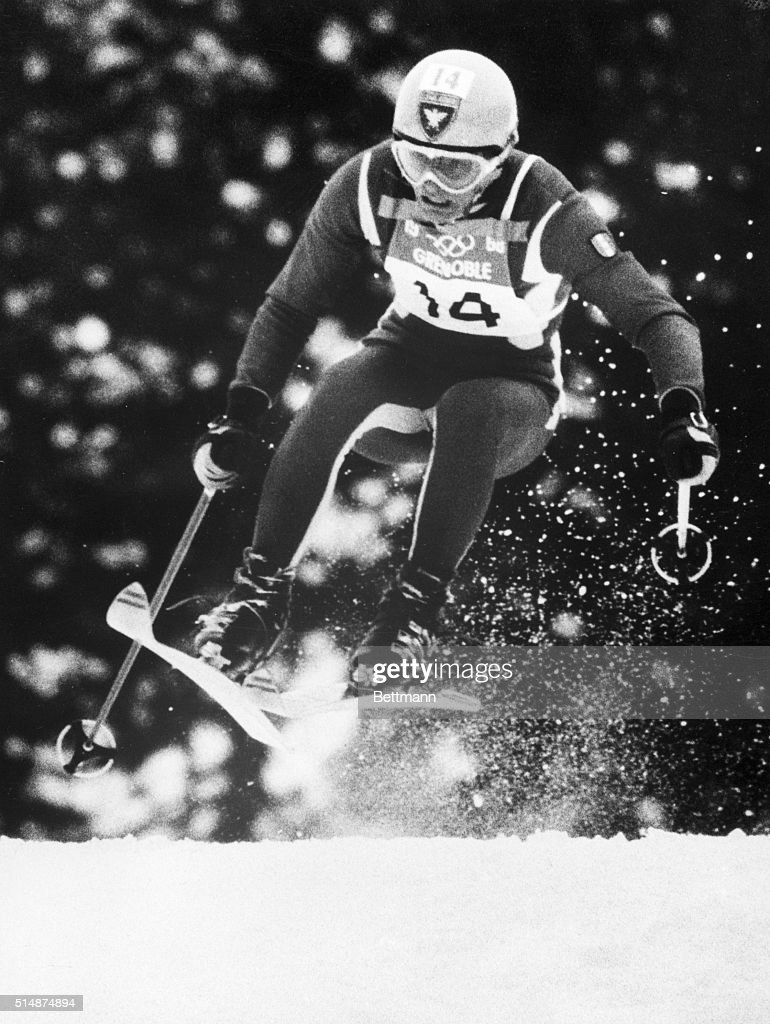 French skier <a gi-track='captionPersonalityLinkClicked' href=/galleries/search?phrase=Jean-Claude+Killy&family=editorial&specificpeople=223880 ng-click='$event.stopPropagation()'>Jean-Claude Killy</a> during the men's downhill event at the 1968 Winter Olympics in France.