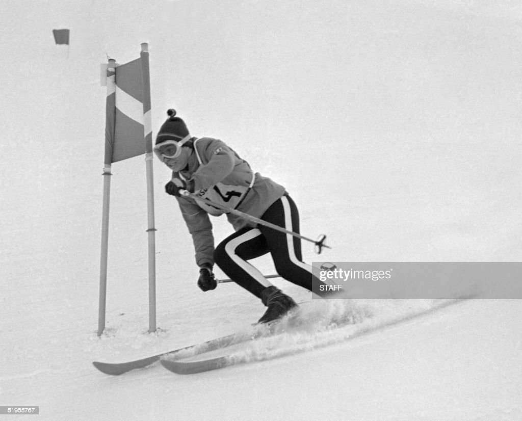 French skier Marielle Goitschel clears a gate during the first run of the women's giant slalom 03 February 1964 at the Winter Olympic Games in Innsbruck. Marielle Goitschel won the gold medal in front of her older sister, Christine, and Jean Saubert of the USA who finished tied for second.