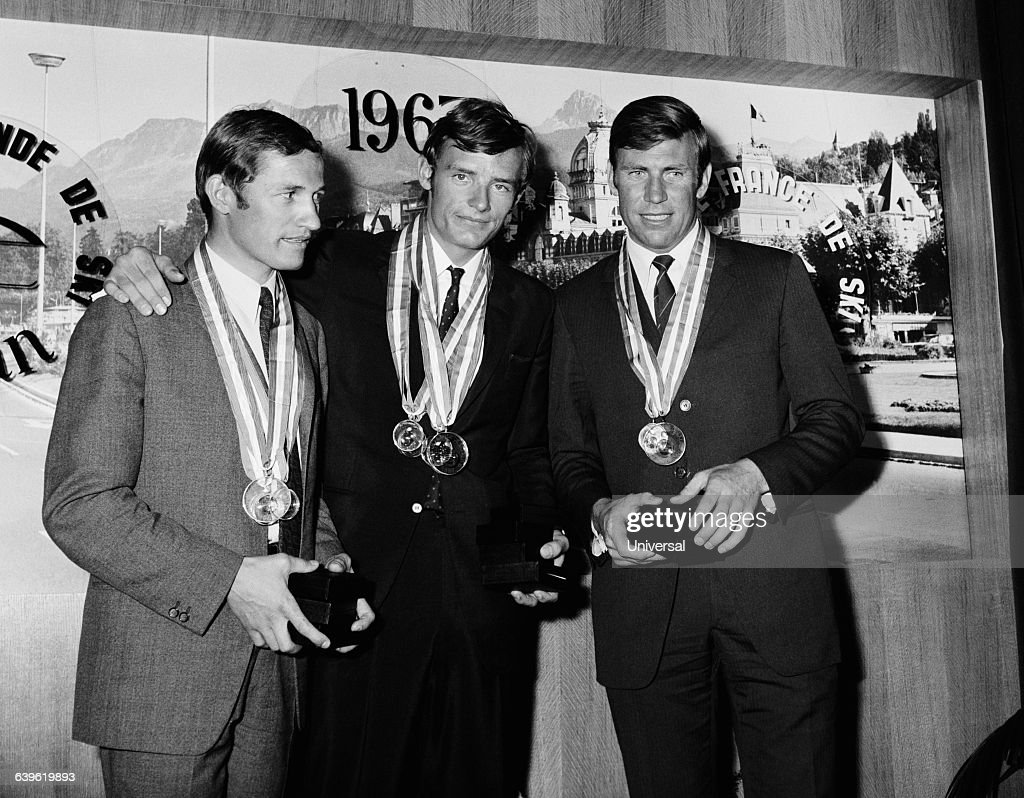 French skiers (L-R) Guy Perillat, <a gi-track='captionPersonalityLinkClicked' href=/galleries/search?phrase=Jean-Claude+Killy&family=editorial&specificpeople=223880 ng-click='$event.stopPropagation()'>Jean-Claude Killy</a> and Leo Lacroix.
