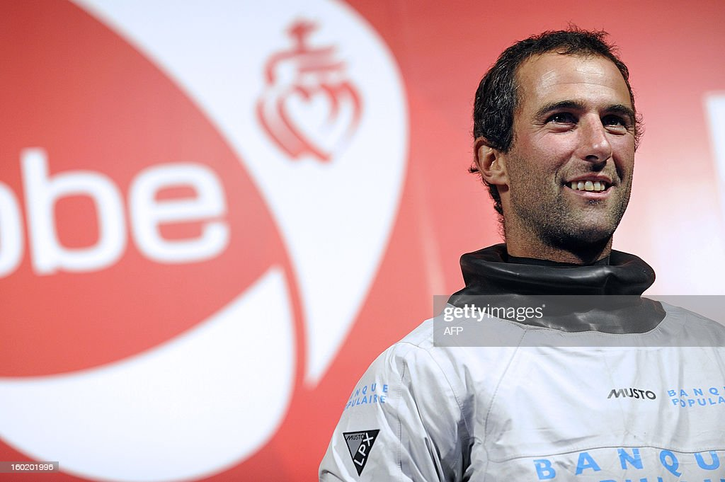 French skipper Armel Le Cleac'h looks on as he celebrates after he finished second of the 7th edition of the Vendee Globe solo round-the-world race on January 27, 2013 in Les Sables d'Olonne, western France.