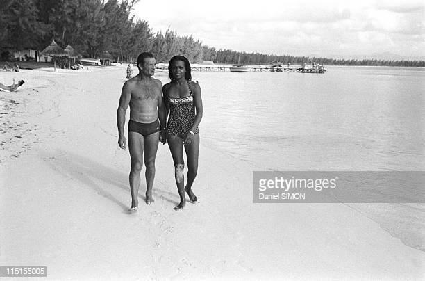 French skipper Eric Tabarly and his wife Jacqueline on holidays in Mauritius island on September 19 1979