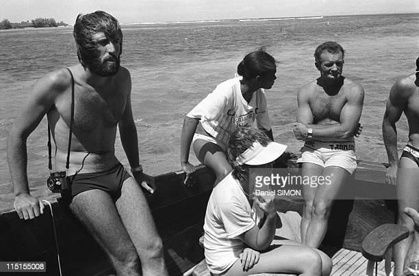 French skipper Eric Tabarly and his wife Jacqueline on holidays in Mauritius island on September 19 1979 with Marc Pajot and his wife