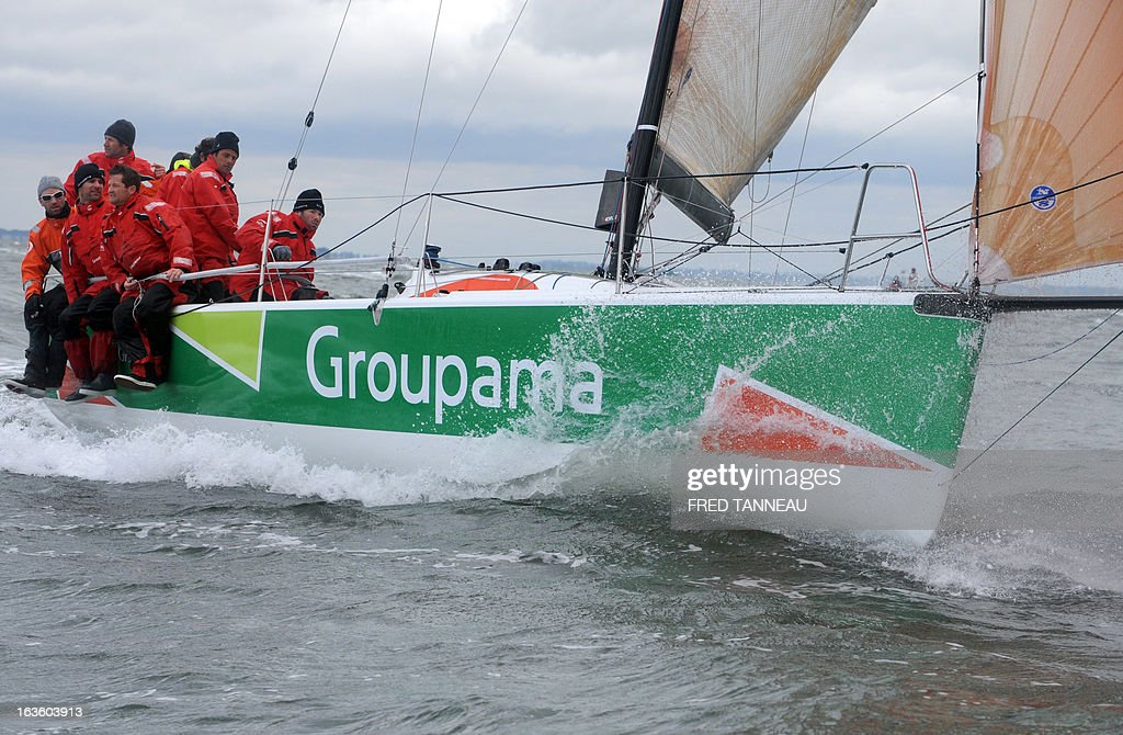 French skipper Franck Cammas and his crew train on Groupama, an M34, a 13,34 meter single-hull, on March 12, 2013 off the coast of Quiberon, Brittany. Cammas is on all fronts, multiplying races and boat categories from the sailing Tour de France to the International Catamaran Challenge Trophy, better known as the Little America's Cup, and a selection for the 2016 Olympic Games. AFP PHOTO / FRED TANNEAU