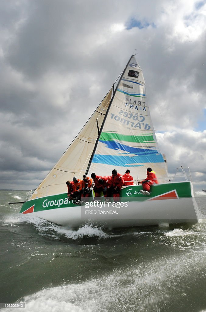 French skipper Franck Cammas and his crew train on Groupama, an M34, a 13,34 meter single-hull, on March 12, 2013 off the coast of Quiberon, Brittany. Cammas is on all fronts, multiplying races and boat categories from the sailing Tour de France to the International Catamaran Challenge Trophy, better known as the Little America's Cup, and a selection for the 2016 Olympic Games.