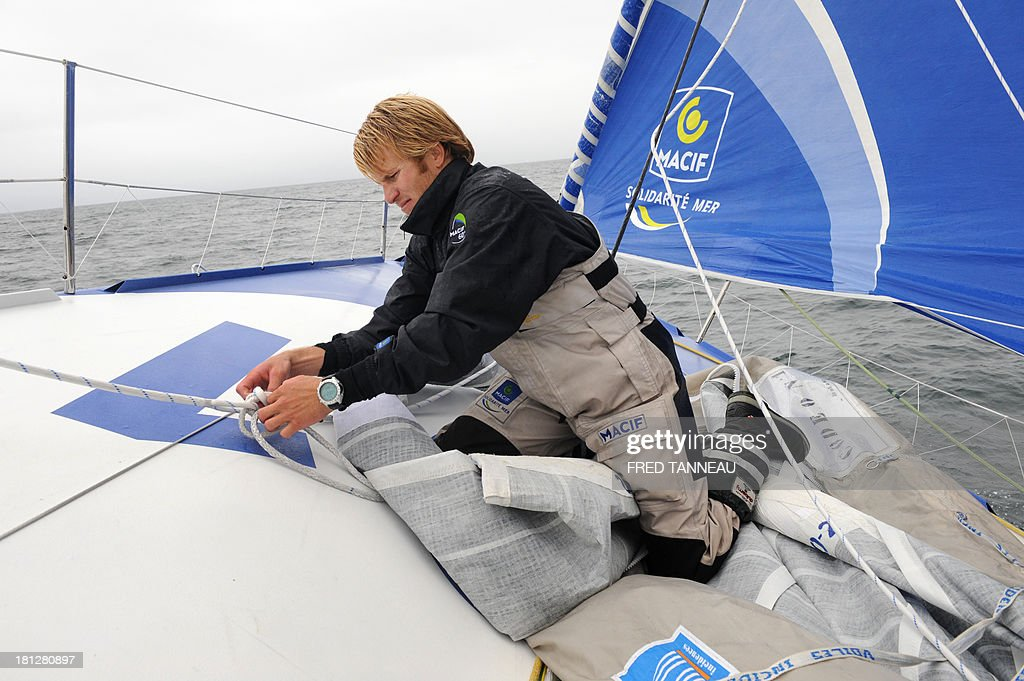 French skipper François Gabart is pictured during a training aboard the monohull 'Macif' on September 19, 2013 off the coast of Lorient, western of France, as part of his preparation for the Transat Jacques Vabre. The 11th edition of the Transat Jacques Vabre will start from French northwestern city of Le Havre on November 3, 2013 to Brazilian city of Itajai. Fourty-four teams are engaged in four categories (Class40, Imoca, Multi50 et MOD70).