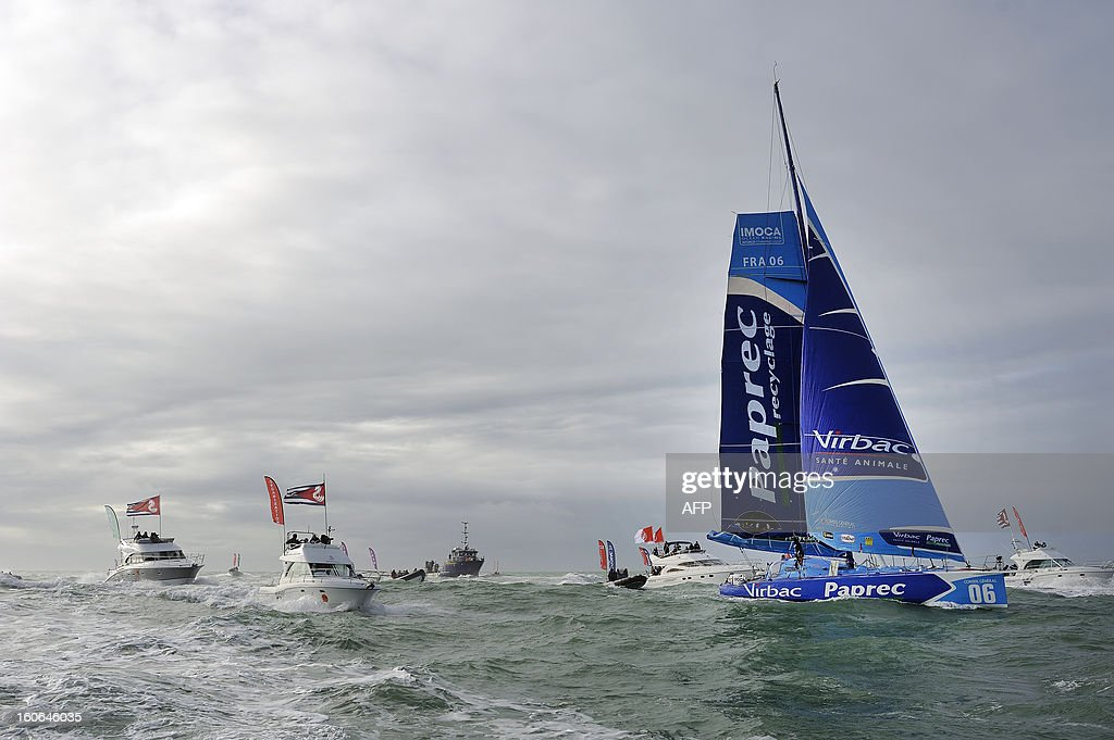 French skipper JeanPierre Dick crosses the line on his monohull 'Virbac Paprec 3' as he finished fourth in the Vendee Globe solo roundtheworld race...
