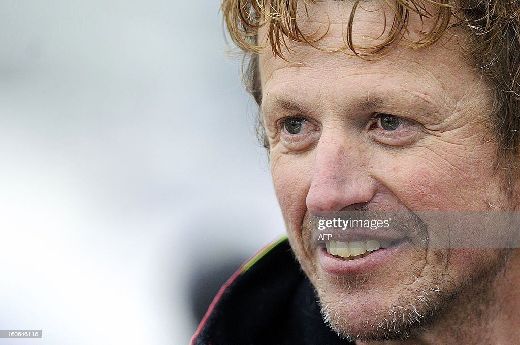 French skipper Jean-Pierre Dick is pictured as he finished fourth in theVendee Globe solo round-the-world race on February 4, 2013 in Les Sables d'Olonne, western France. Dick sailed without a keel since January 22.