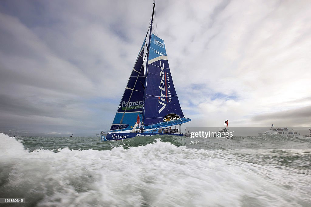 French skipper JeanPierre Dick is pictured as he finished fourth in the Vendee Globe solo roundtheworld race on February 4 2013 in Les Sables...