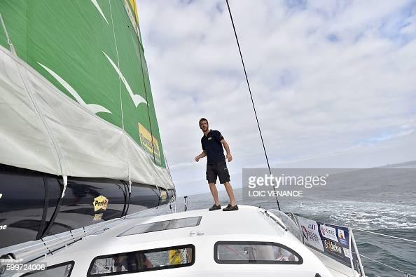 French skipper louis burton sails his imoca monohull for Bureau vallee lyon 6