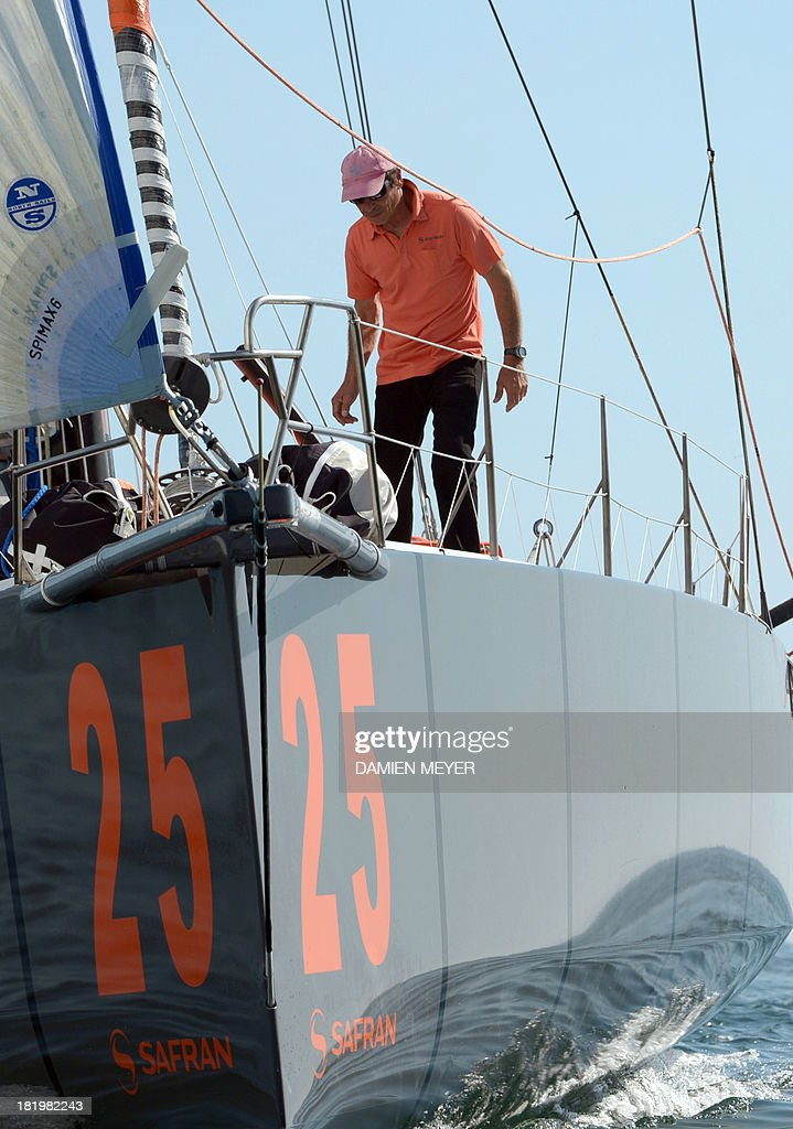 French skipper Marc Guillemot attends a training on the monohull 'Safran' on September 25, 2013 off the coast of La Trinité-sur-Mer, western of France as part of their preparation for the Transat Jacques Vabre. The 11th edition of the Transat Jacques Vabre will start on November 3rd from Le Havre to Itajai, Brazil. Fourty-four teams are engaged in four categories (Class40, Imoca, Multi50 et MOD70).